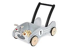 Pinolino Lauflernwagen Kimi, aus Holz, mit Bremssystem, Lauflernhilfe mit gummierten Holzrädern, für Kinder von 1 – 6 Jahren, silber