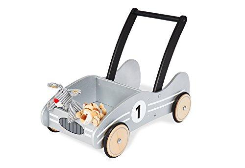 Pinolino Kimi Chariot de Marche en Bois avec système de freinage et Roues en Bois caoutchoutées pour Enfant de 1 à 6 Ans Argenté