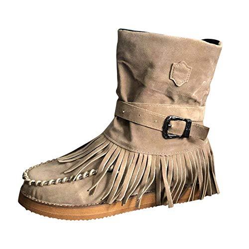 DreamedU Botas con Flecos para Mujer Estilo Retro Romano Botas Cortas con Flecos De Color SóLido Zapatos Planos Elegantes Otoño Invierno 201008