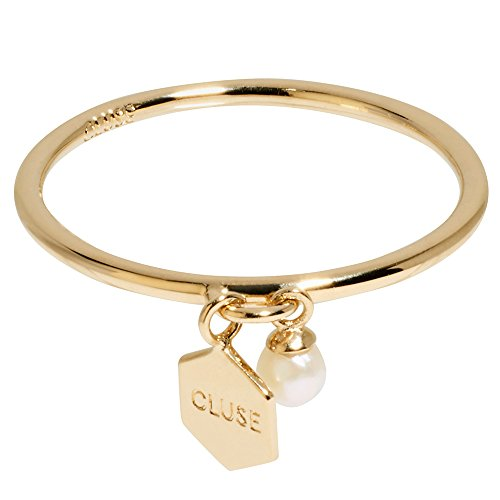 Cluse Women's Essentielle Gold Hexagon and Pearl Charm Ring 52 CLJ41007-52