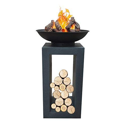 DRULINE Sale Moderne Feuerschale Feuerkorb Feuerstelle aus Gussstein Steinguss Ø 39,5cm H68,5
