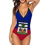 QINSONG Haitian Flag Bikini Swimsuit Bikini Set Beach Swimwear Bathing Suit One-Piece Swimsuits Backless Bathing Suits