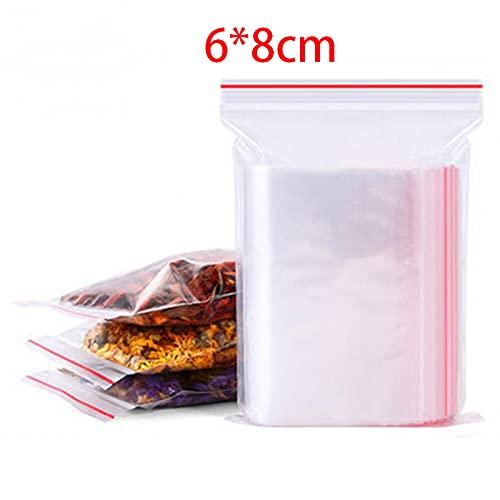 treseds 100/500 unids/Paquete Resellable Plastic Block Bolsas Black Poly Zip Block Bag Storage Almacenamiento Alimentación Reclutable Vacuum Fresh Organize Bolsa (Color : 6x8cm, Size : 100pcs)