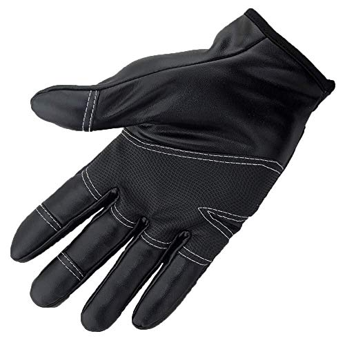 Jiahe115 handschoenen, mini-tekening, borstel, zeer warm, PU-leer, wolfleece aan de binnenkant van de handschoenen van leer, voor mannen en vrouwen, zwart, L
