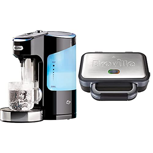 Breville HotCup Hot Water Dispenser with 3 KW Fast Boil and Variable Dispense, 2.0 Litre, Gloss Black [VKJ318] & Deep Fill Sandwich Toaster and Toastie Maker with Removable Plates