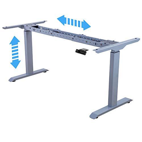 Albatros Supporto per scrivania Lift, Argento, 2X Motori, Regolabile elettricamente in Altezza con Funzione di Memoria