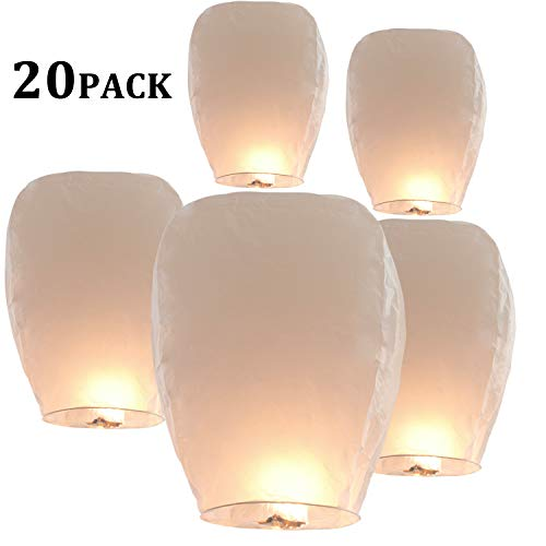 20 Pack Chinese Sky Lanterns Paper Lanterns 100% Biodegradable Environmentally Friendly, Flying Wish Lanterns for Wedding, Birthday Party, New Year, Holiday Celebration