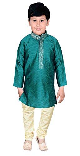 Disfraz de Boda de Pijama Indio Kuwan Sherwani Kurta 915 (2 aos, Verde Azulado)