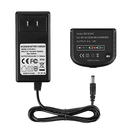 YABELLE 9.6-18 Multi-Volt 1.5Ah Replacement Battery Charger 90556254-01 for Black and Decker NiCad NiMh Slide Style Batteries HPB18-OPE HPB18 FSB18 HPB14 FSB14 HPB12 FS12B HPB96 FSB96