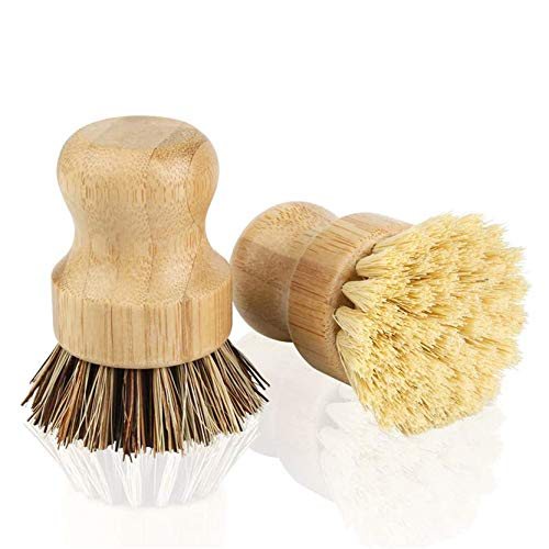 Bamboo Dish Brush, KY-Tech 2pcs Bamboo Mini Scrub Brush Coconut Bristles Pot Brushes Dish Scrubber for Cast Iron Skillet, Kitchen Sink, Bathroom, Household Cleaning