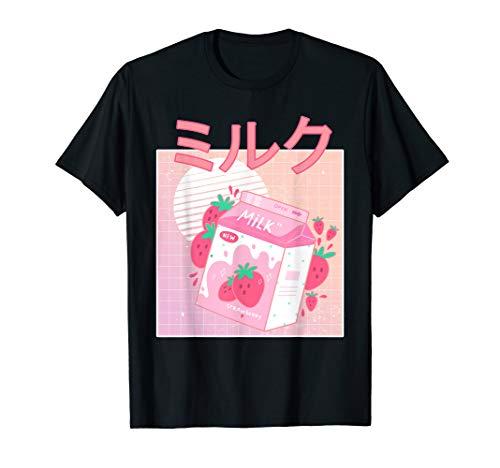 Lustiger Retro 90s Japanischer Kawaii Erdbeermilch Shake T-Shirt