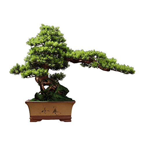 SBDLXY Plantas Artificiales en macetas Simulación de árbol de bonsái Artificial Bienvenida Adorno de Planta de bonsái de Pino Maceta de cerámica Plantas de imitación para Oficina Restaurante Decora