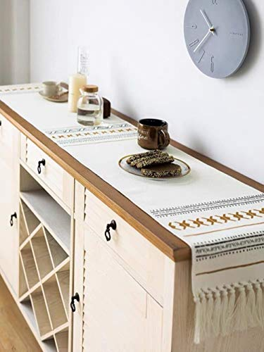 Coner Tafelloper Katoen en linnen Bloem Eenvoudige stijl Tafelkleed Dressoir Sjaals Keuken Diner Feestdagen Bruiloftsevenementen, 180 35 cm
