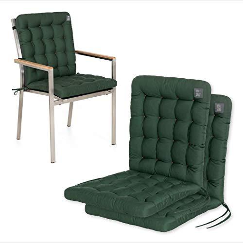 HAVE A SEAT Luxury | Gartenstuhlauflagen - Niedriglehner Polster Auflage, waschbar bei 95°C, Trockner geeignet, Sitzauflage für Gartenstuhl (2er Set - 100x48 cm, Moosgrün)