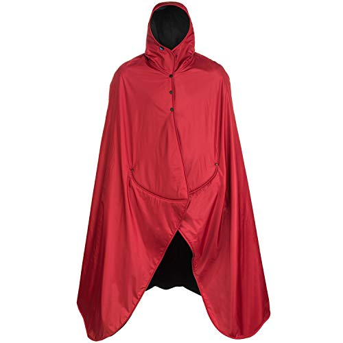 Mambe Extreme Weather 100% Waterproof/Windproof Hooded Blanket with Premium Stuff Sack (Size: S, Red-Black) Made in The USA