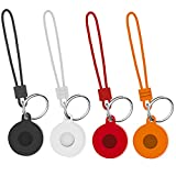 [4 Pack] YWXTW Silicone Case Compatible with AirTags, [Keychain + Lanyard] Cute FunnyAirTags Holder Accessories Shockproof Protective Skin Cover for AirTags 2021 (Black/Red/Orange/Transparent)