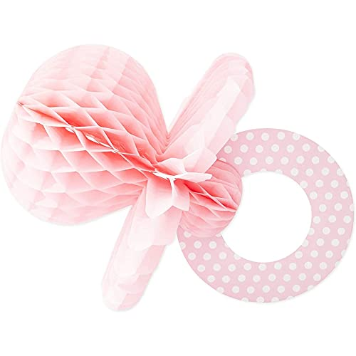 Juvale Pink Pacifier Baby Shower Centerpiece, Baby Girl Party Decor (7.9x11.2 in, 6Pk)