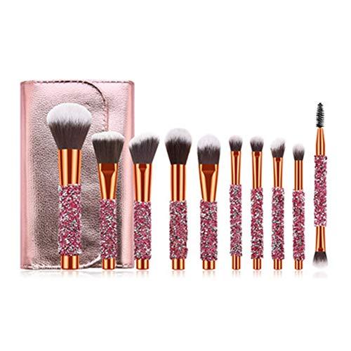 KLI Pinceaux de Maquillage, 10pcs Cadeau beauté Set Brosse soies synthétiques Kabuki cosmétique Brosse Collection Base Yeux Fard à paupières mélange de Contour correcteur Blush, avec Sac