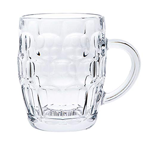 Classic Beer Pint Style Mugs Glass Pot Old Pub Bar Style Tankard Handle Stein Dimple (1)