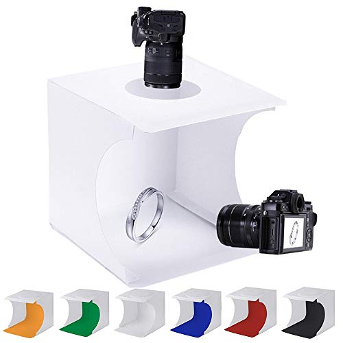 SENLIXIN Mini Photo Studio Tent Jewelry Light Box Kit, Portable Foldable Small Home Photography Studio Light Box Booth Shooting Tent with LED Light Strips - with 6 Color Background (20x20x20cm)