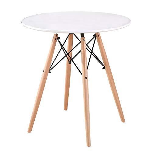 Turefans Rund Küchentisch,Modern Büro Konferenztisch Kaffeetisch,MDF-Desktop, Beine aus Buche, φ80 cm, Höhe 72 cm (Weiß)