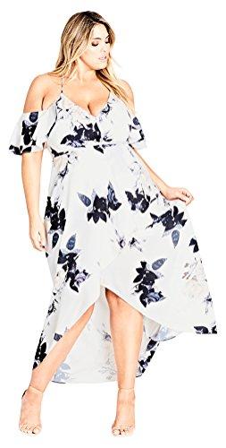 City Chic – Vestido para Mujer con Volantes delicados y tamaño Grande, Crema Floral, L