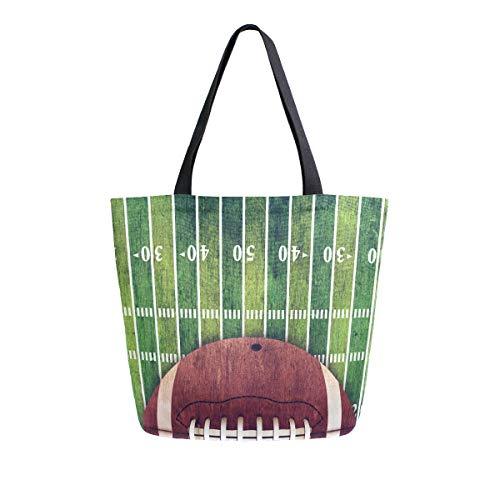 Naanle Sport Canvas-Tragetasche, große Damen, lässige Schultertasche, Handtasche, American Football, wiederverwendbar, strapazierfähig, Einkaufstasche aus Baumwolle, für den Außenbereich