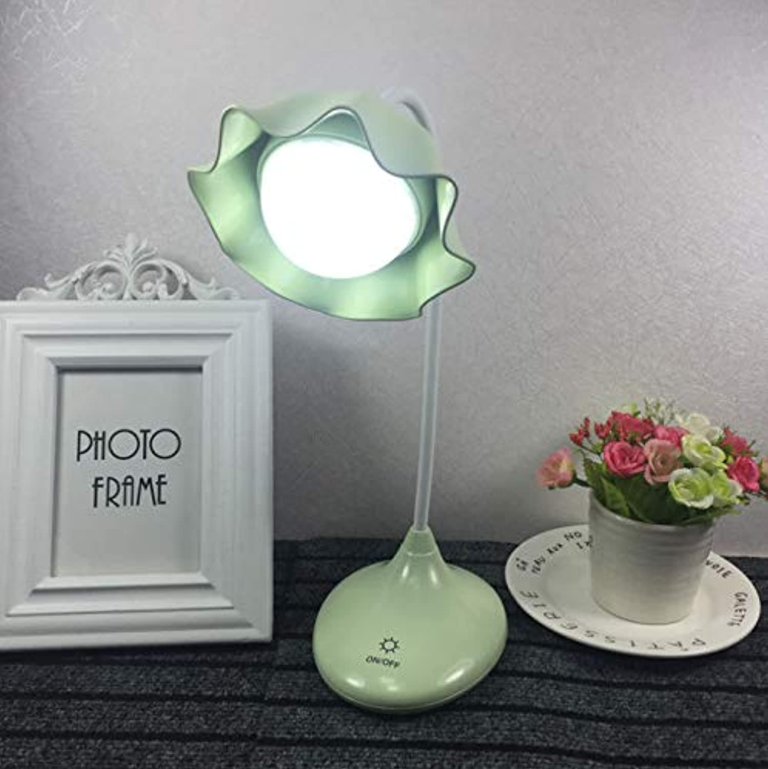 Creative Lotus Dimming Led Desk Lamp Rechargeable Desk Usb Student Dormitory Reading Bedside Table Lamp C
