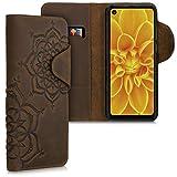 kalibri Wallet Hülle kompatibel mit Motorola One Action - Hülle Leder - Handy Cover Handyhülle Blumen Zwillinge Braun
