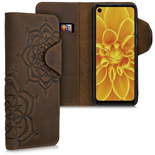 kalibri Carcasa Compatible con Motorola One Action - Funda de Cuero con Tapa de Billetera Flor Pintada marrón