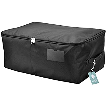 Seasonal Clothes Storage Bag, Comforter/Bedding/Quilt/Pillow Storage Organizer Bag, Black