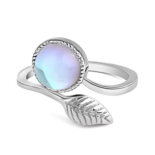 Offene Ringe für Frauen Mode Naturstein Blätter Ringe Mondstein Vintage Opal Ringe One Size Silber Farbe verstellbare Ring Geschenke