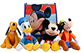 Disney 11' Plush Mickey Mouse, Donald Duck, Goofy & Pluto 4-Pack in Gift Bag