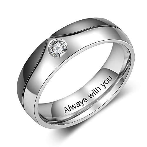 Gaosh Anillo de acero inoxidable con grabado personalizado y piedra de nacimiento simulada para hombres Anillos de boda para mujeres Anillos de eternidad Parejas casadas Él y ella