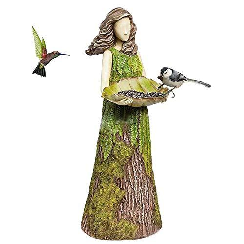 Heroicn Estatuilla de ángel de Hadas de Helecho de Sherwood con alimentador de pájaros, estatuas y esculturas de jardín, decoración para Adornos de césped al Aire Libre