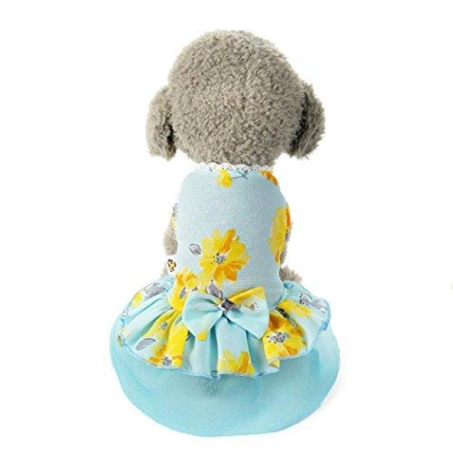 esailq perro gato diseño de flores con lazo tutú vestido de encaje mascota cachorro perro princesa disfraz prendas de vestir ropa azul