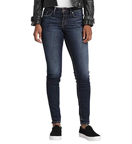 Silver Jeans Co. Damen Suki Curvy Fit Mid Rise Skinny Jeans, Power Stretch Dark Indigo, 30W x 29L