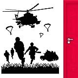 Etiqueta engomada de la pared del vinilo de los niños de la guerra Soldado de la Marina de guerra Avión Etiqueta de la pared interior Decoración del hogar