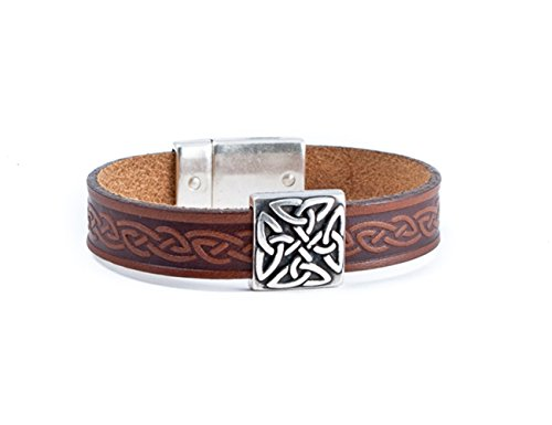 Biddy Murphy Irish Leather Bracelet Celtic Knot Charm Brown 7 1/2 Inches Unisex Made in Ireland