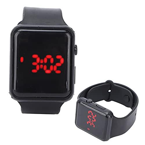 minifinker Reloj electrónico, Caucho y plástico Reloj de Pulsera fácil de Llevar Luminoso para el Tiempo(Black)