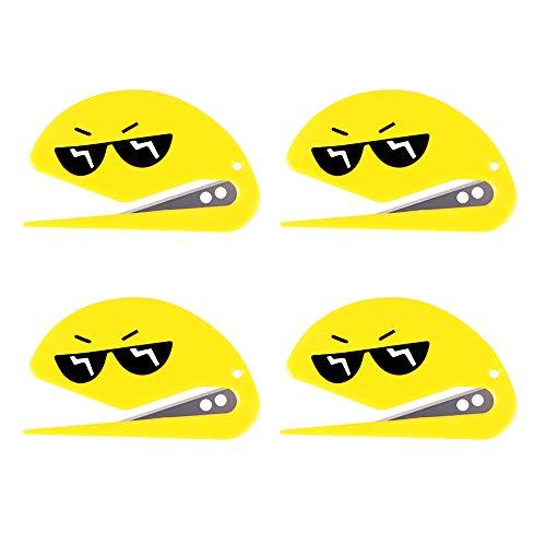 4 pcs Letter Opener Envelope Slitter Bulk Set Safety Concealed Razor Blade Paper Cutter Opening Mail Paper Knife Yellow