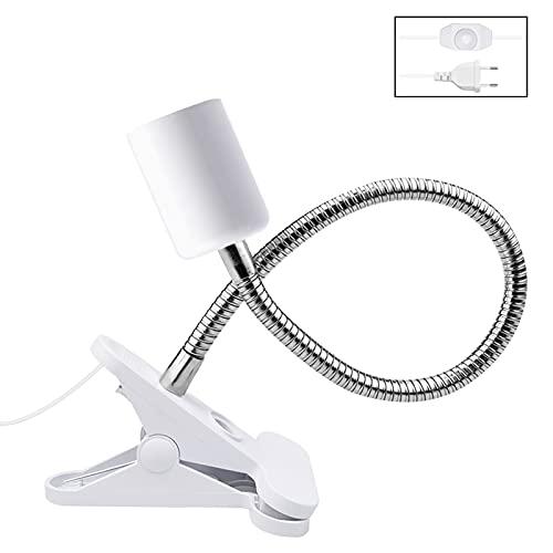 Bonlux Lampenfassung E27 Klemmbar mit Schalter für Schildkröten, Keramikfassung E27 Flexibel für Wärmelampe, UV Lampe, Pflanzenlampe,Einstellbare Temperatur (Ohne Glühbirne)
