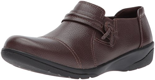 Clarks Women's Cheyn Madi Loafer, Dark Brown Tumbled Leather, 10 W US