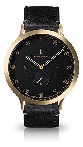 Lilienthal Berlin Unisex Armbanduhr L1 in Gold-Schwarz mit schwarzem Lederarmband   Prämiertes Design   Qualität Made in Germany   Höchster L01-206-B004B