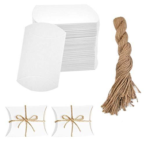 YOTINO 100 PCS Bomboniere in Cartone Bianco per Caramelle Scatola per Cuscino Scatola per Caramelle in Carta Kraft Confezione Regalo per Matrimonio Festa di compleanno-11,5X7cm