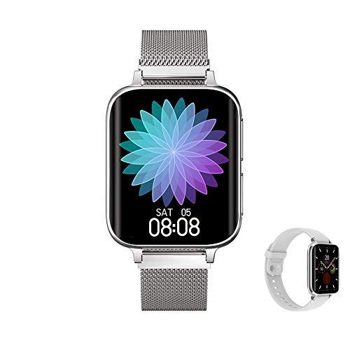 Aliwisdom Smartwatch per uomo donna bambini, Smart watch con chiamate Bluetooth e promemoria whatsapp e lettore musicale, Fitness Tracker impermeabile orologio fitness per iphone Android (Argento)