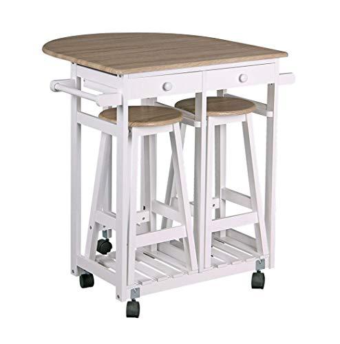 Preisvergleich Produktbild Spetebo Rollbare Küchenbar mit abklappbarer Tischplatte und 2 Hockern