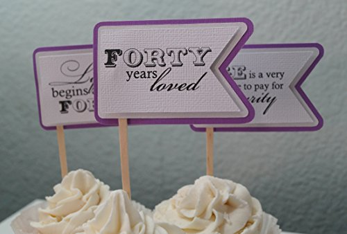 All About Details Purple Grape 40Th Birthday Quotes Cupcake Toppers, Set of 12