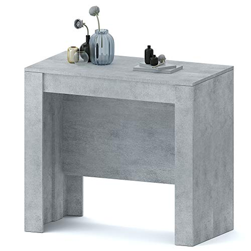 Tavolo Consolle Allungabile Oslo Fino A 2.37 Metri, Tavolo 10 Posti Salvaspazio Multiposizione, Design Moderno Ed Elegante, Consolle Per Casa E Ufficio, 78 x 51 x 90 cm, Colore Grigio Cemento