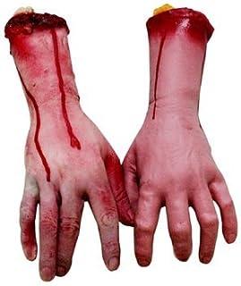 Faux bras, mains et doigts humains ensanglantés, morceaux de cadavre, décorations d'Halloween pour maison hantée, 2 pièces...